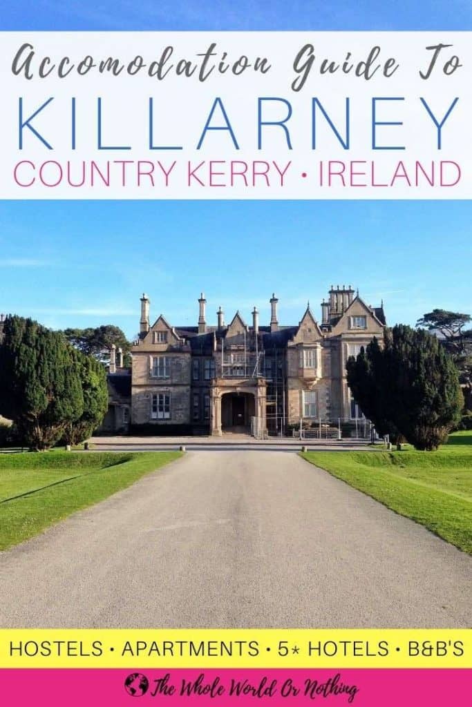 Muckross House with text overlay Accommodation Guide To Killarney County Kerry Ireland