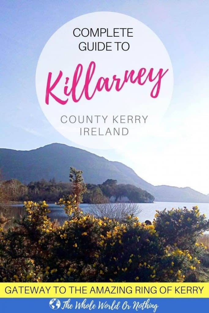 Lake and mountain with text overlay Guide To Killarney County Kerry Ireland