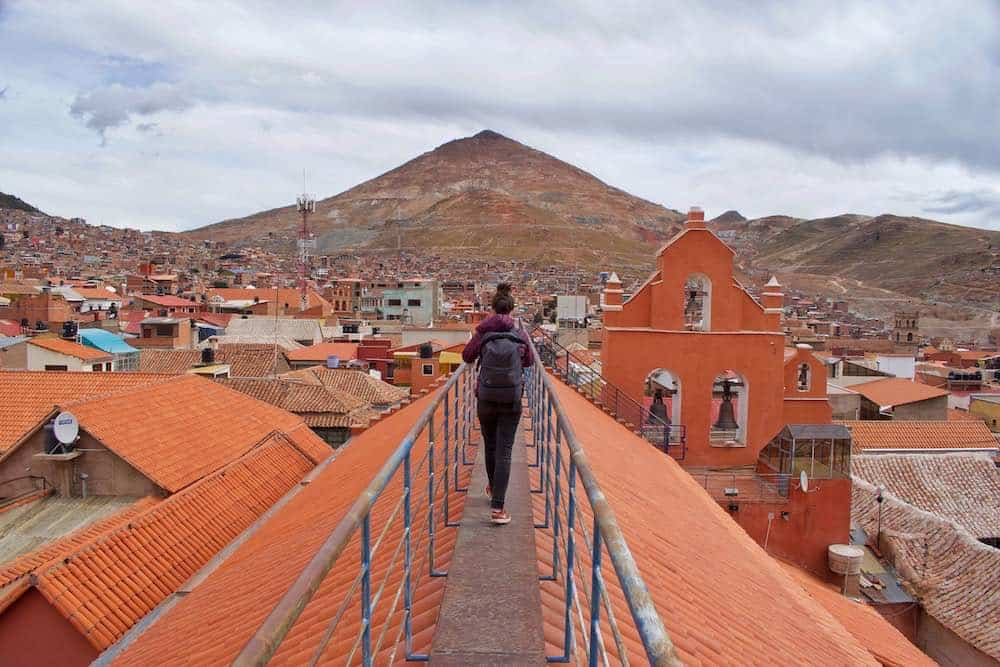 Rooftop view of Cerro Rico Potosi