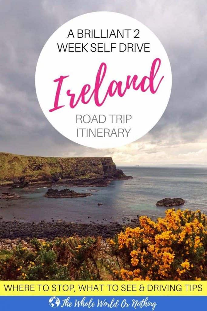 Causeway Bay with yellow flowers and text overlay 2 Week Self Drive Ireland Road Trip Itinerary