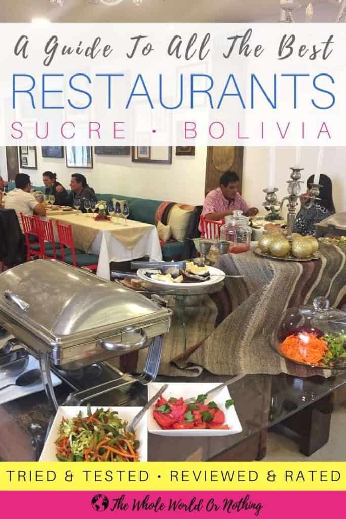 El Solar buffet table with text overlay A Guide To All The Best Restaurants in Sucre Bolivia