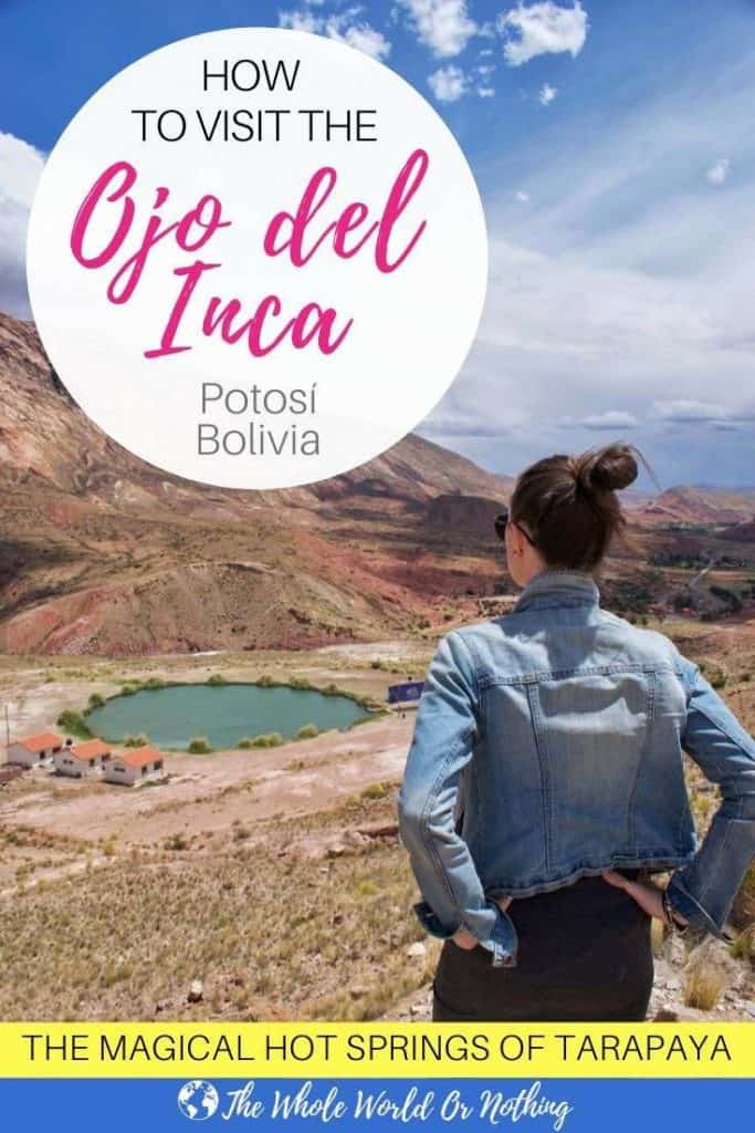 View of Lake Tarapaya with text overlay Ojo del Inca Potosi Bolivia
