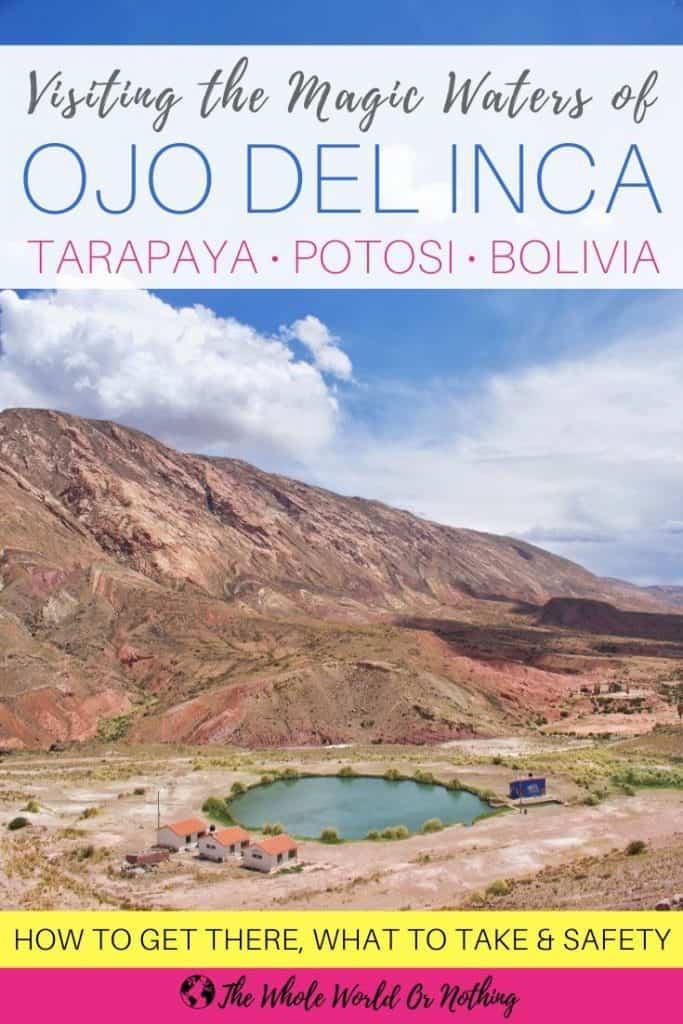 Laguna Tarapaya with text overlay Ojo del Inca Potosi Bolivia