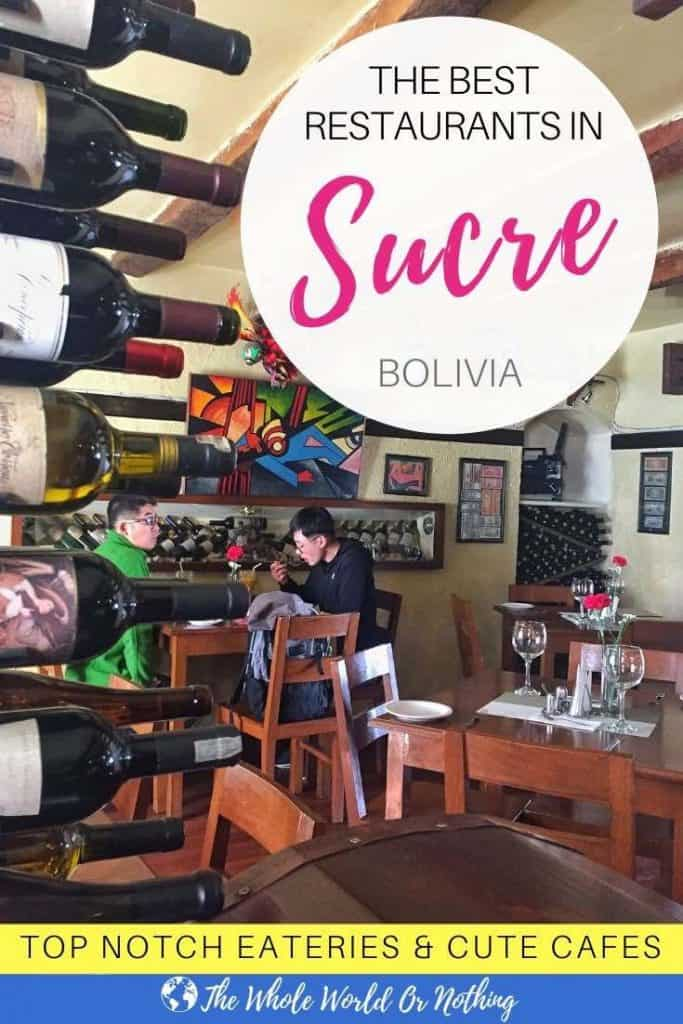 El Taverne with text overlay The Best Restaurants in Sucre Bolivia