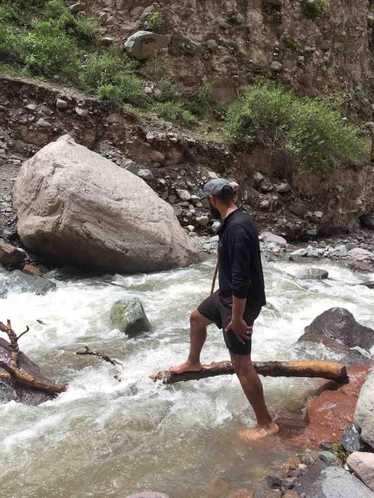 Crossing river in Colca Canyon