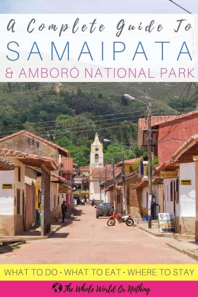 Street with church and text overlay Guide to Samaipata Bolivia