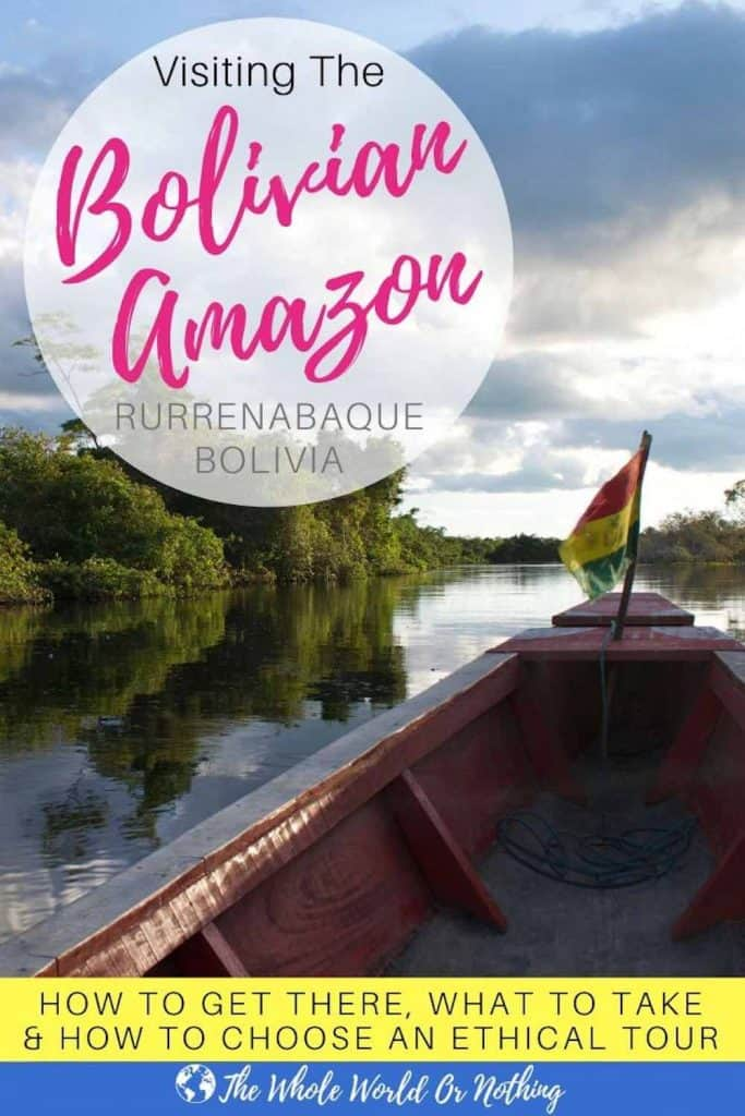 Boat on river with text overlay Visiting The Bolivian Amazon in Rurrenabaque Bolivia