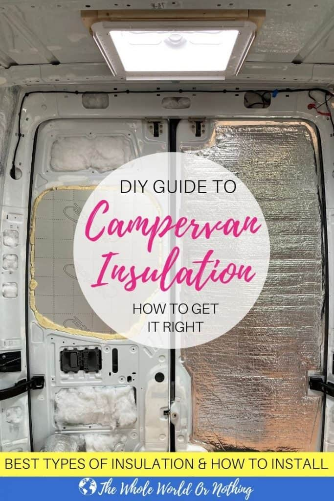 Inside van with text overlay diy guide to campervan insulation