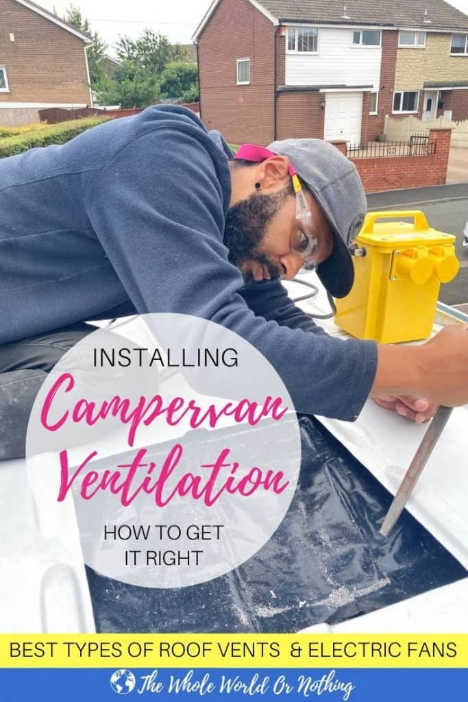 filing metal with text overlay installing campervan ventilation