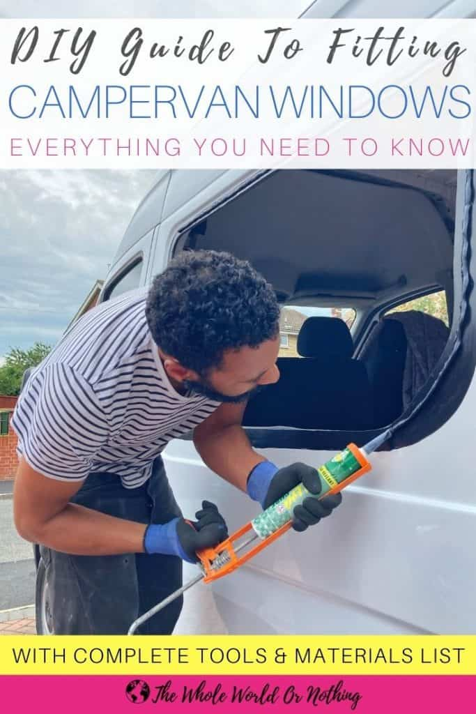 Operating silicon gun with text overlay DIY Guide To Fitting Campervan Windows