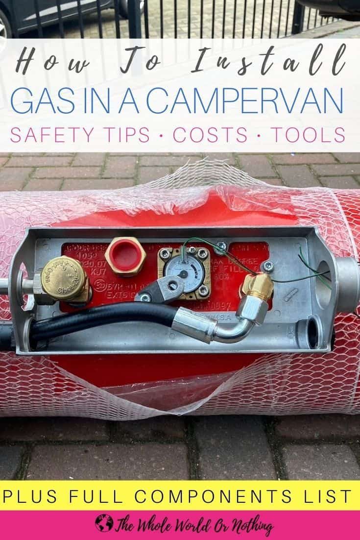 LPG tank with text overlay How To Install Gas In A Campervan