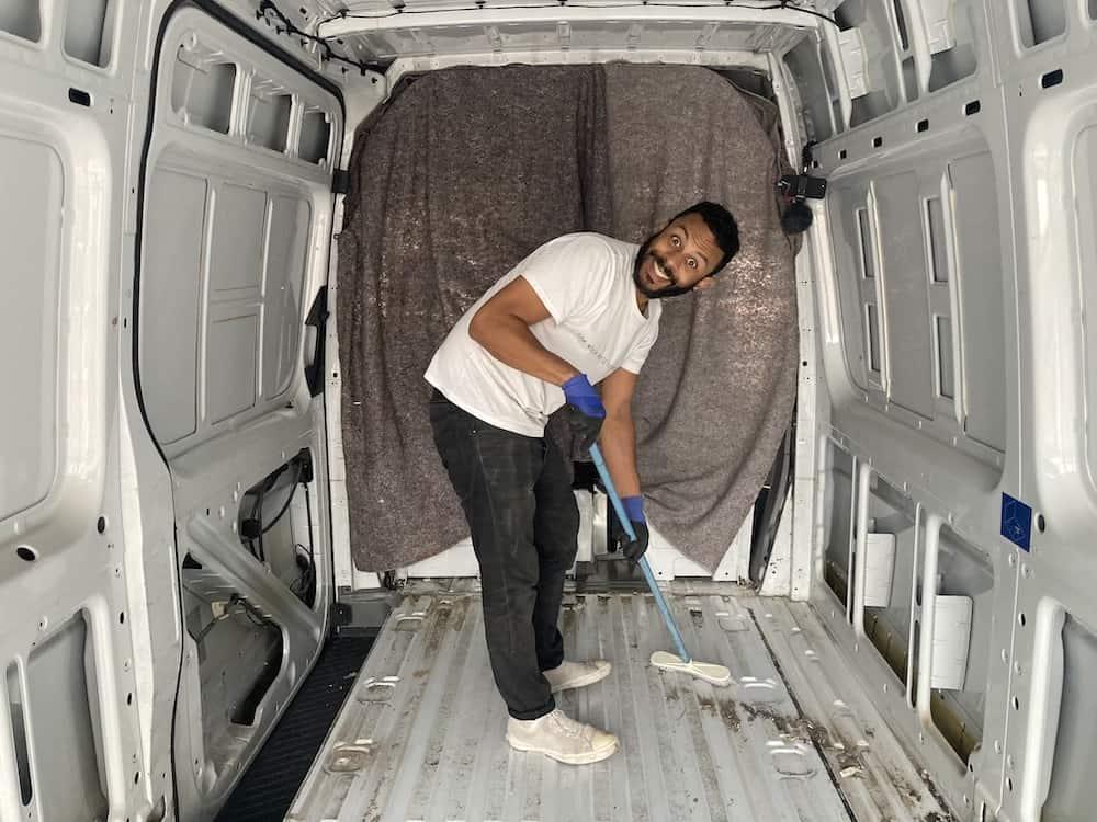 cleaning van floor
