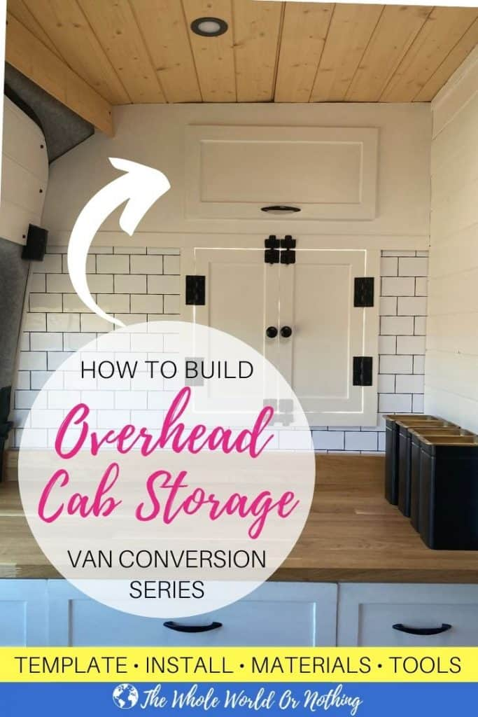 Van conversion interior with text overlay How To Build Overhead Cab Storage