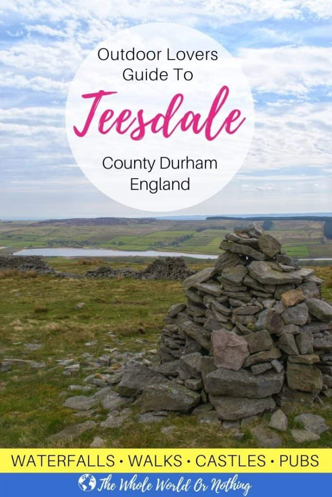 View from Harter Fell with text overlay outdoor lovers guide to Teesdale County Durham