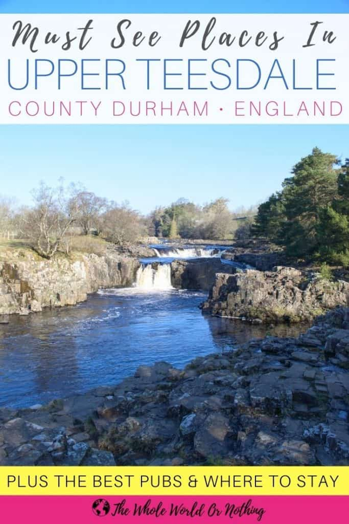 Low Force waterfalls with text overlay must see places in Upper Teesdale