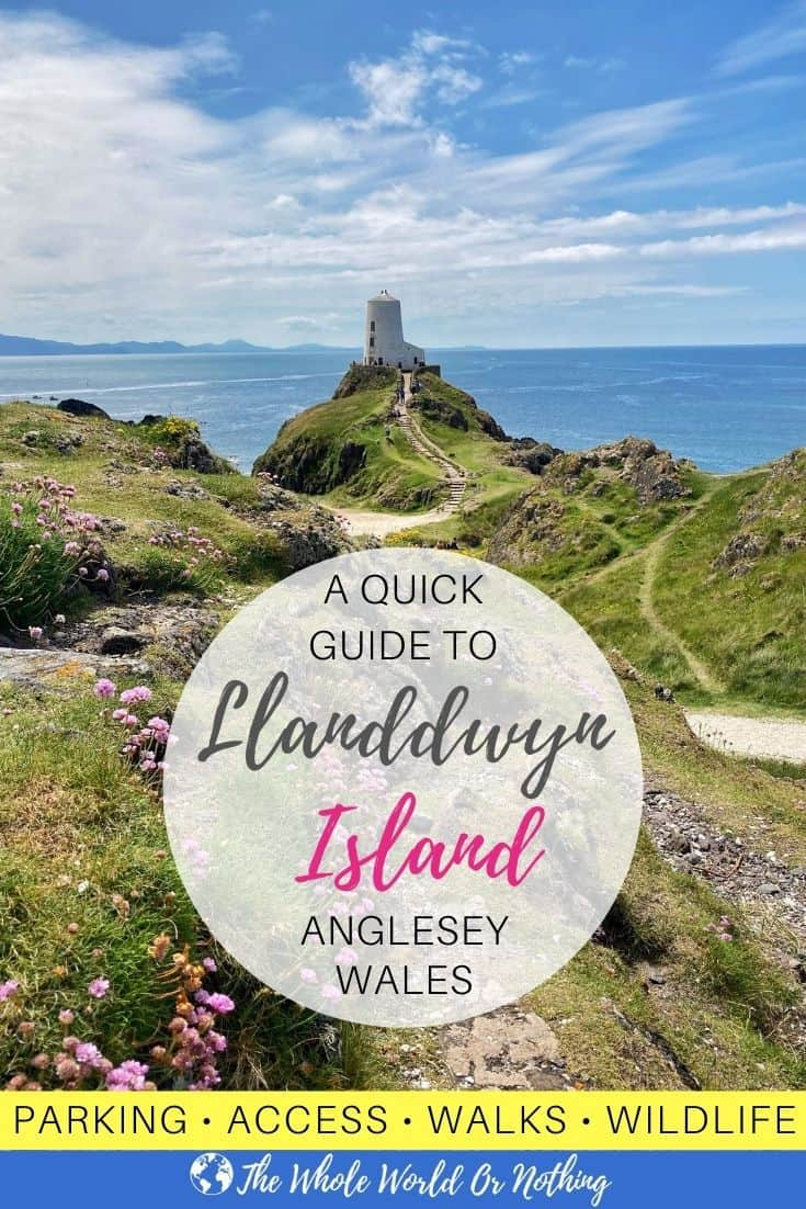 Lighthouse with mountains in background and text overlay guide to Llanddwyn Island
