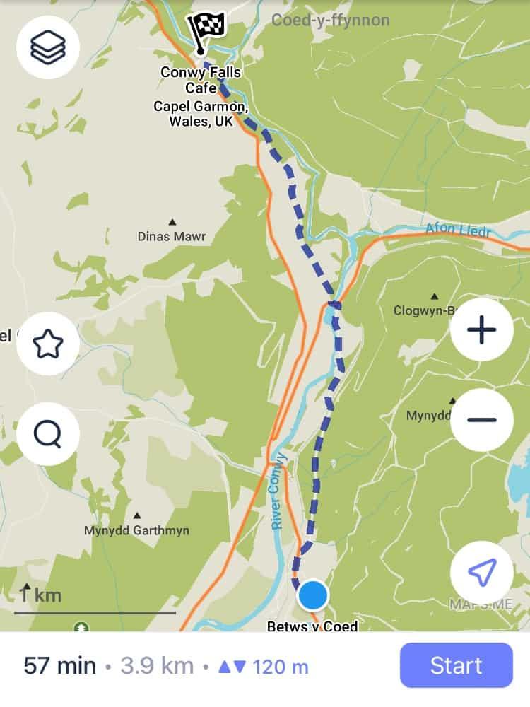 Bewts y Coed to Conwy Falls Walk